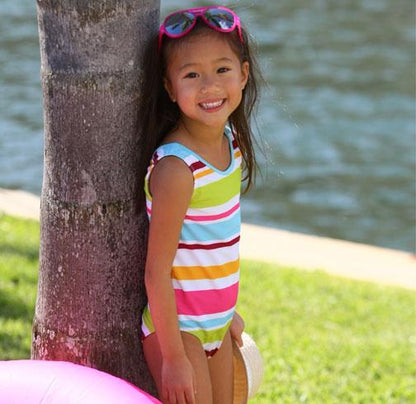 Jacen One Piece Bathing Suit ALOHA STRIPE