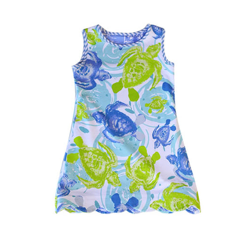 K!K! Batik and Sea Turtles Reversible Dress - Three Friends Apparel