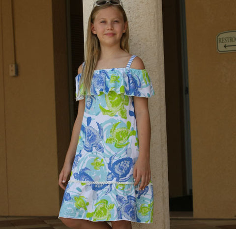Cindy Sea Turtles Dress - Three Friends Apparel