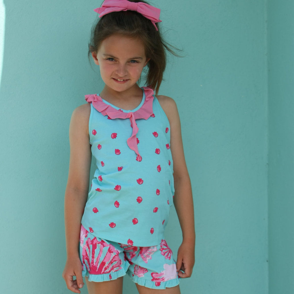 Taylor 2 pc Adrift  Short Set with Seashell Little Truffle Short - Three Friends Apparel