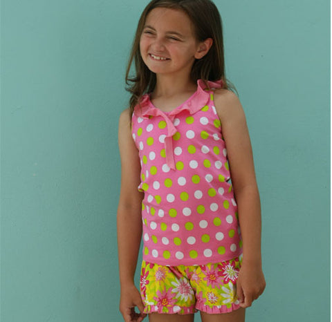 Taylor 2 pc Smitten Dot Short Set with Enchanted Daisy Little Truffle Short - Three Friends Apparel