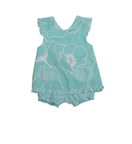 Alice Sundress Aqua Meadows - Three Friends Apparel
