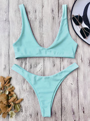High Cut Scoop Neck Bikini