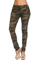Washed Camo Pants with Zipper