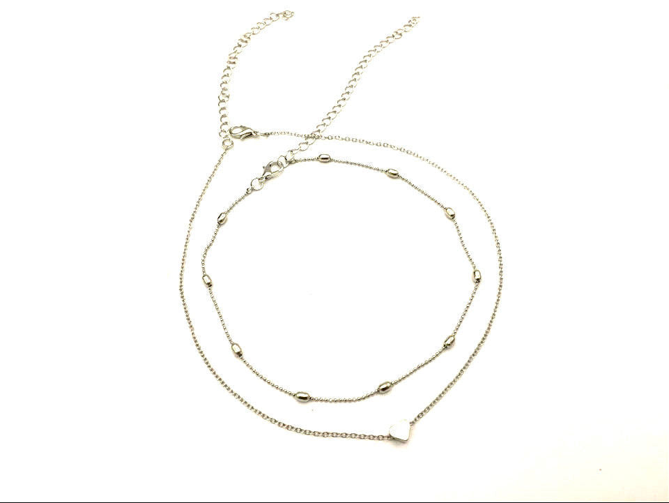 Legacy Looks Double Layers Heart Pendant Choker - Silver