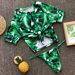 Legacy Looks Leaf High Rise Scuba Top Bikini Set