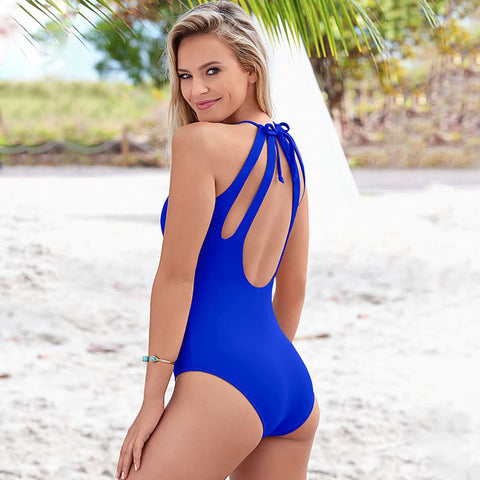 Legacy Looks Monokini Cut Out One Piece - Blue Back