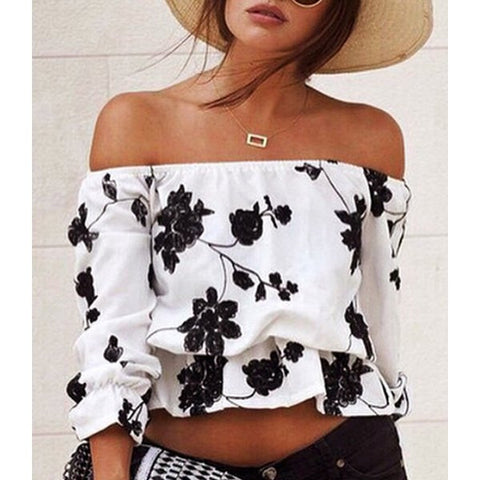 Off-The-Shoulder Black Floral Printed Short Blouse