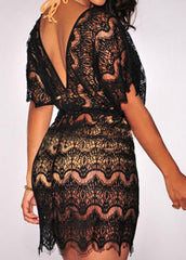 Open Back Black Lace Cover Up