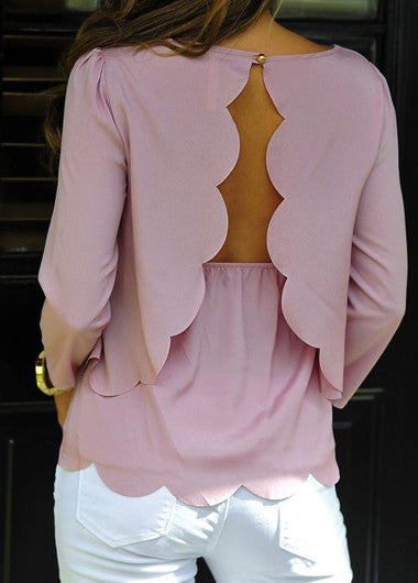 Open Back Pink Round Neck Scalloped Blouse