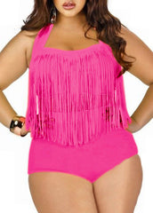 Plus Size High Waist Fringed Two Piece Swimwear