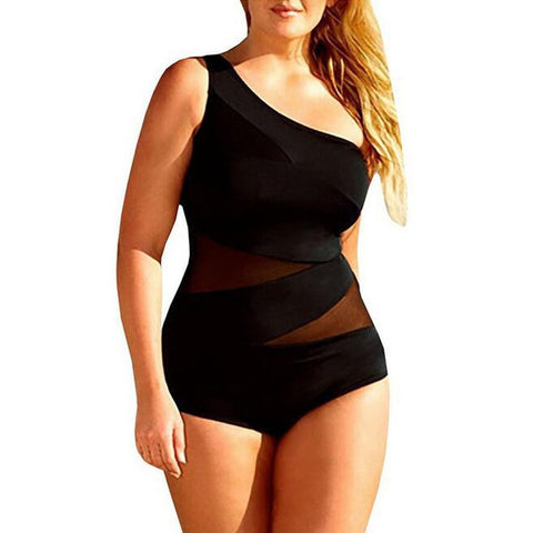 Plus Size Sexy Off-shoulder Mesh One Piece