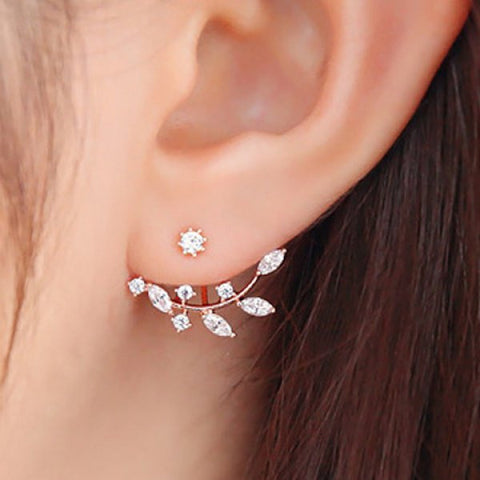 Rhinestone Leaf Branch Earrings