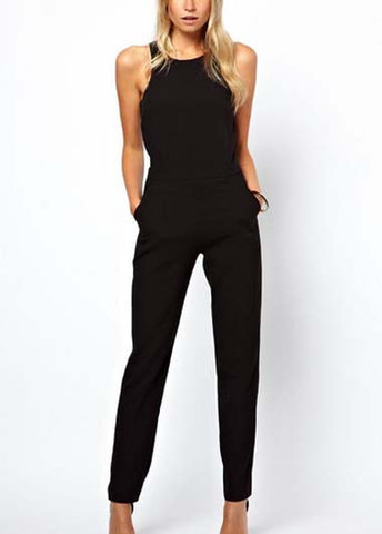 Round Neck Black Ankle Length Jumpsuit