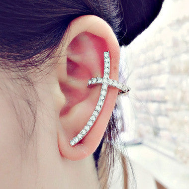 Silver Rhinestone Decorated Cross Shape Design Ear Cuff