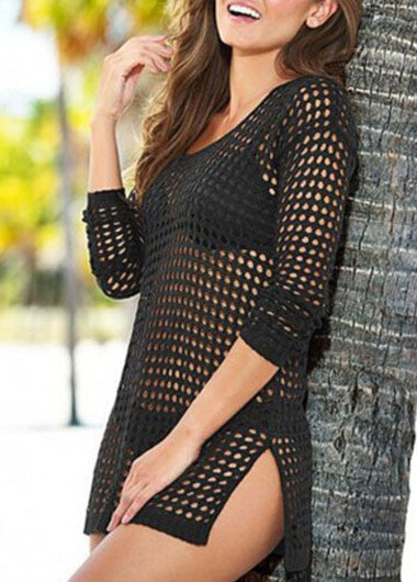 Solid Black Pierced Double Side Slit Cover Ups