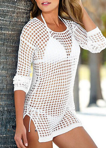 White Pierced Double Side Slit Cover Ups