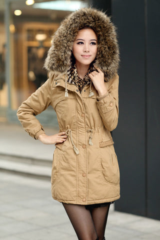 Legacy Looks Women's Winter Coats Faux Fur Lining Parka With Fur Hood - Khaki Front
