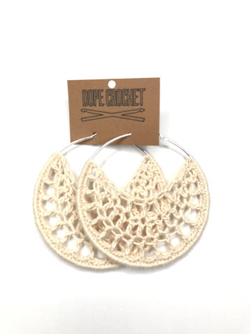 Beige Cotton Crochet Hoops - Hoop Earrings - Crochet Earrings