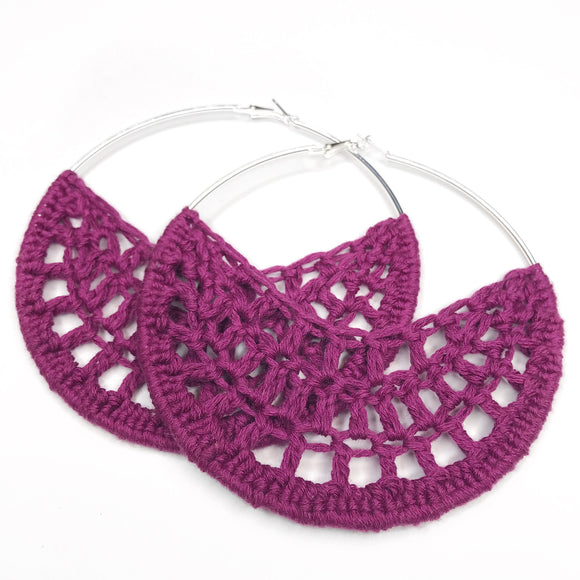 Berry Crochet Hoops - Hoop Earrings - Crochet Earrings