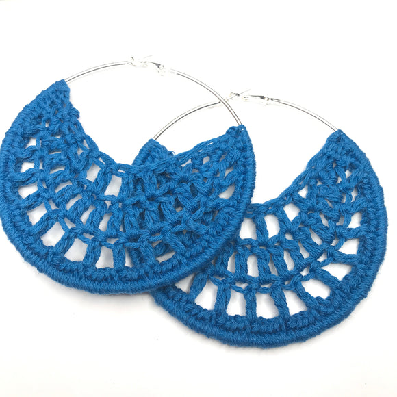 Blue Cotton Crochet Hoops - Hoop Earrings - Crochet Earrings