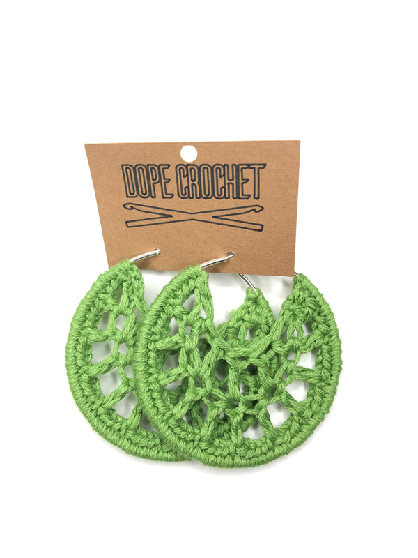 Green PETRA Cotton Crochet Hoops
