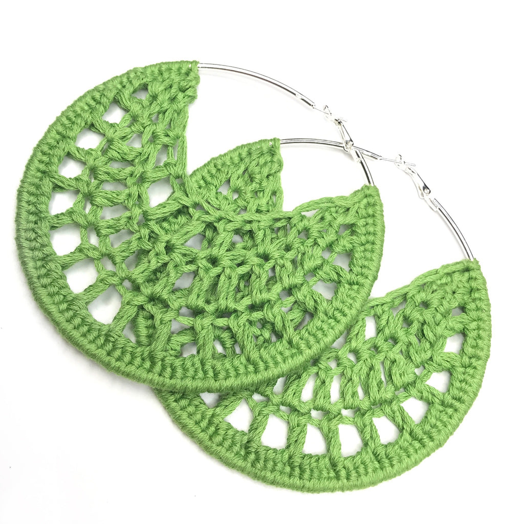 Lime Green Cotton Crochet Hoops - Hoop Earrings - Crochet Earrings