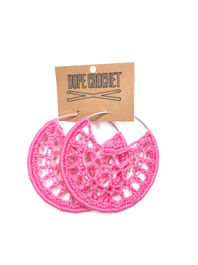 Pink PETRA Cotton Crochet Hoops