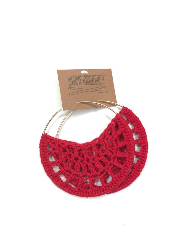Red Crochet Hoops - Hoop Earrings - Crochet Earrings