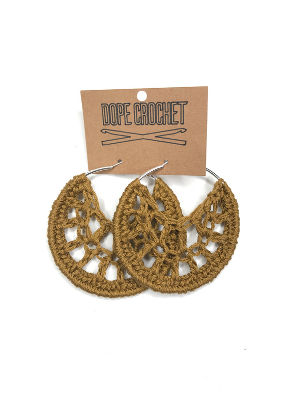 Tan Crochet Hoops - Hoop Earrings - Crochet Earrings