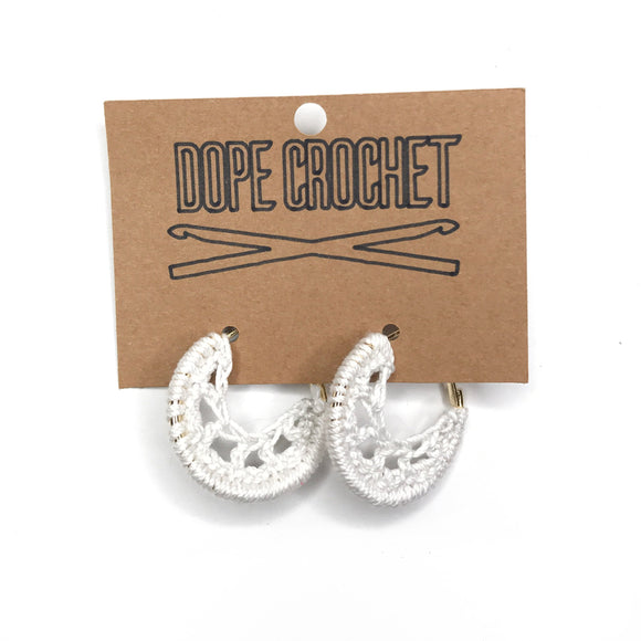 White Crochet Hoops - Hoop Earrings - Small Crochet Hoops
