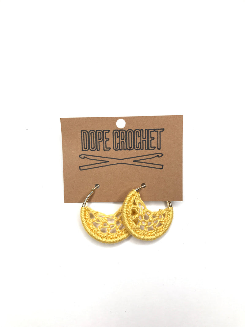 Yellow Crochet Hoops - Hoop Earrings - Small Crochet Earrings