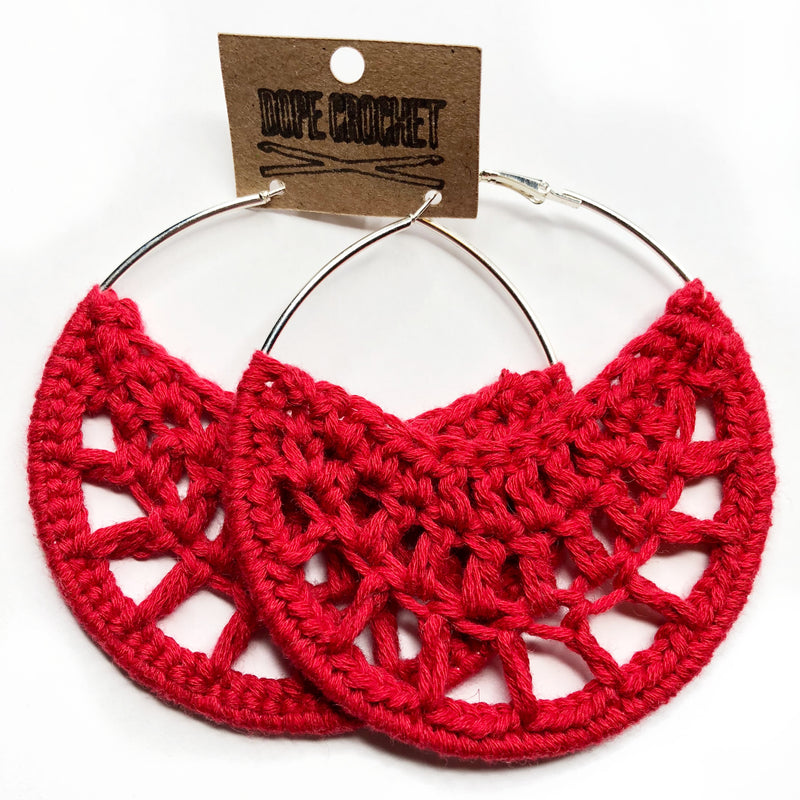 Red PETRA Cotton Crochet Hoops