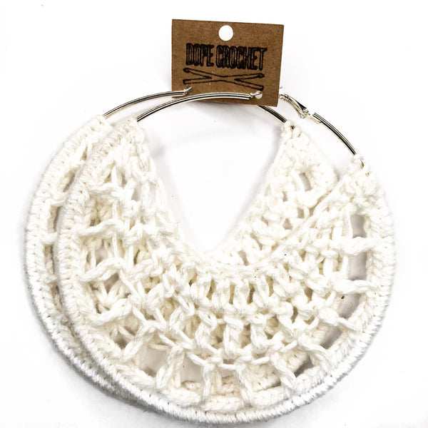 White PETRA Cotton Crochet Hoops
