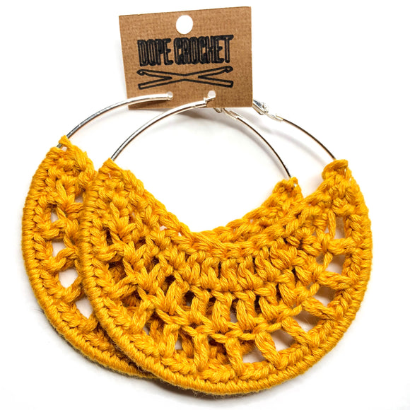 Yellow PETRA Cotton Crochet Hoops
