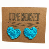 LOVE HEART Crochet Stud Earrings