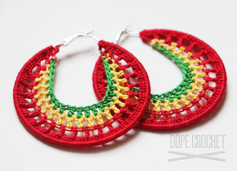 NELLE Crochet Hoops - Red, Yellow, Green