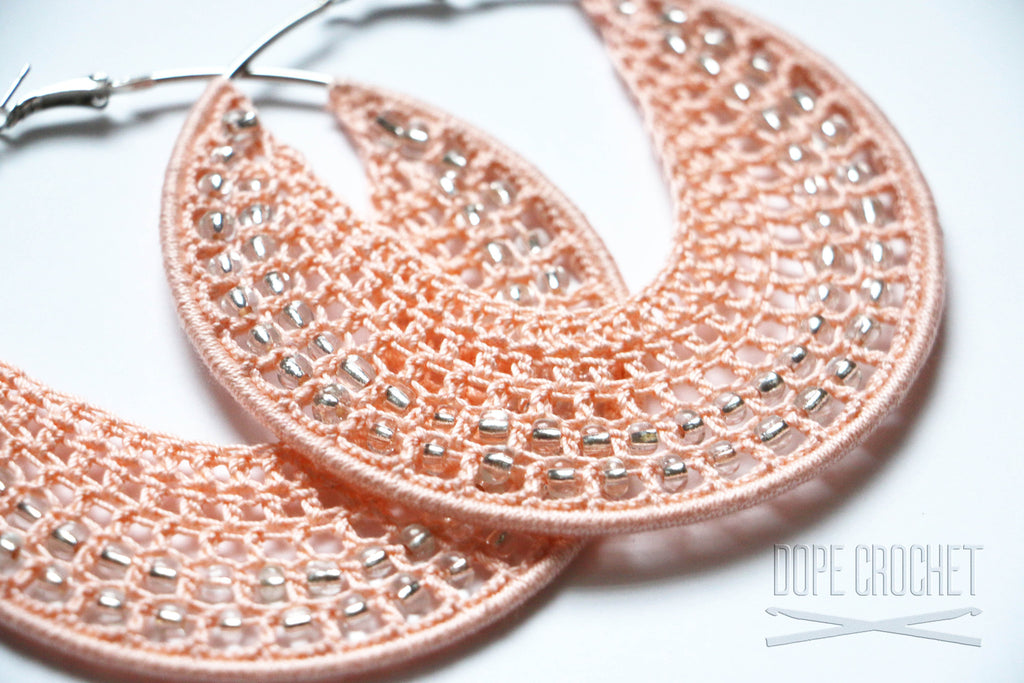 Peach Crochet Hoops with Glass Beads