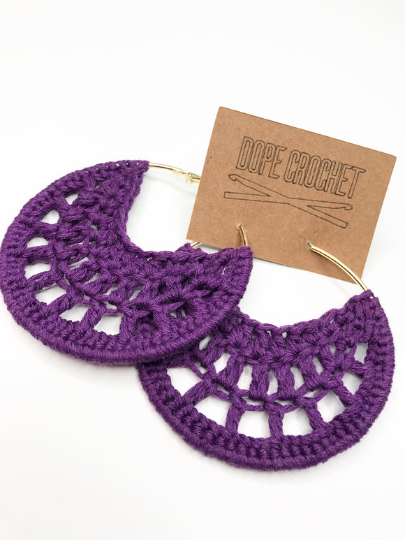 Purple PETRA Cotton Crochet Hoops