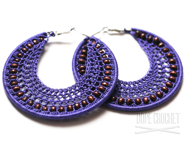 Beaded Crochet Hoops with Wooden Beads