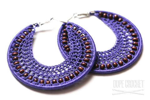 Purple Beaded Crochet Hoops with Wooden Beads