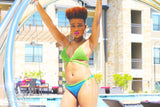 MOBAY Crochet Bikini Set - Lime Light Green & Blue Paradise