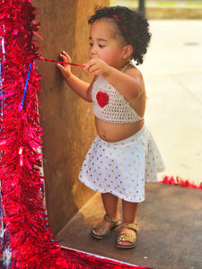 Girls Crochet Halter Top - Toddler Halter Top - Heart Halter Top