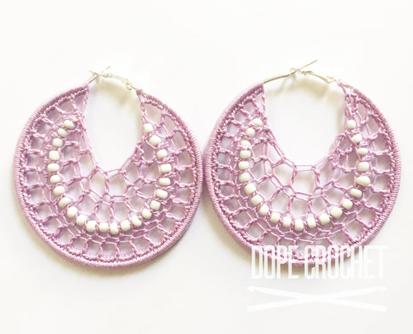 Lavender Beaded Crochet Hoops with White Beads