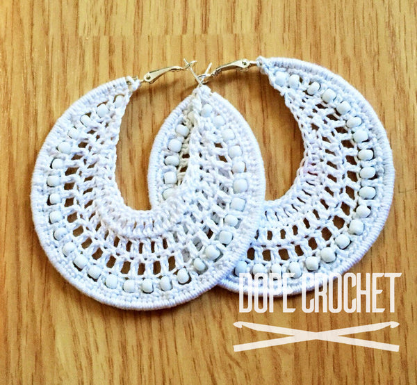 White Beaded Crochet Hoops