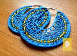Blue Beaded Crochet Hoops with Yellow Beads
