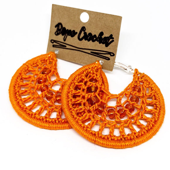 Orange Beaded Webbed Crochet Hoops