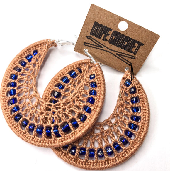 Tan Crochet Hoops with Blue Glass Beads