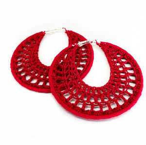 Red Hoops -  Cotton Thread - Hoop Earrings