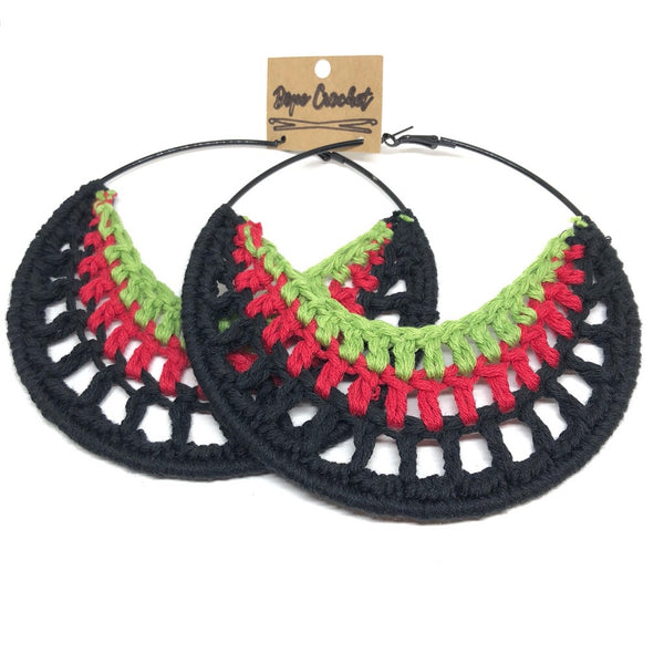 Black, Red, Green Crochet Hoops